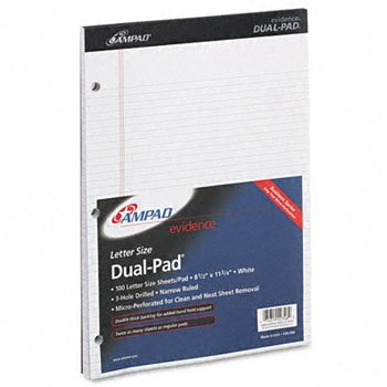 Ampad® Evidence® Dual Pads PAD,DUAL LTR NAR RLD,WHT FEL9893301 (Pack of15)