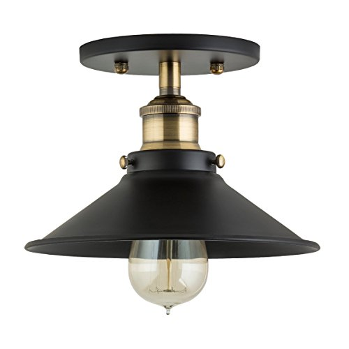 - Andante Industrial Vintage Ceiling Light Fixture | Black w/Antique Brass Semi Flush Mount Ceiling Light with Bulb LL-C407-LED-AB