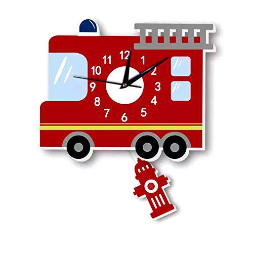 (Hiltow Cartoon Fire Engine Non Ticking Boys Wall Clock for Kids,Wooden Clocks for Children Nursery Preschool Playroom Boys Girls Bedroom Decoration)