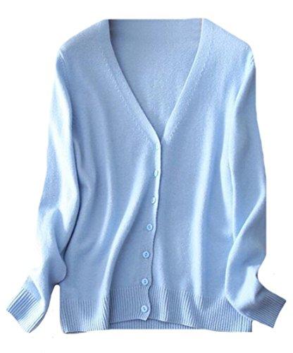 - OULIU-Women Button Down V-Neck Soft Cashmere Cardigan Sweater Light Blue XL