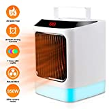 Small Space Heater, 1000W Electric Mini Air Heater, PTC Ceramic Personal Fan Heater with Over-heat & Tip-over Protection for Home and Office, With luminous lights