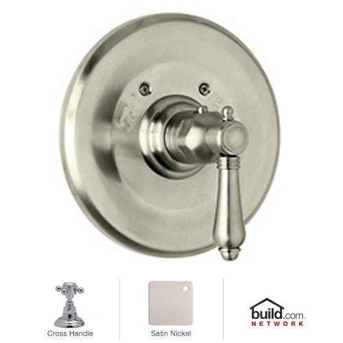 Rohl A4914XMSTN Country Bath Trim Only Concealed Thermostatic Valve with Cross Handle and Without Volume Control, Satin Nickel by Rohl