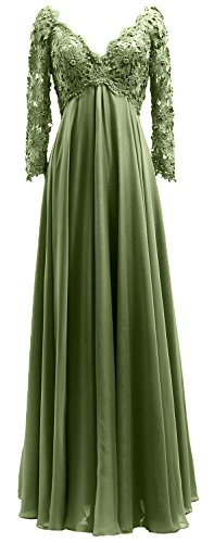 Chiffon the Gown Sleeves Green Bride of Olive Women Lace Mother Long Evening MACloth Dress EzWqTwgW