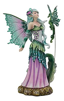 """Ebros Amy Brown Discovery Enchanted Elf Fairy FAE Damsel with Green Pixie Dragon Statue 8"""" Tall Fantasy Mythical Faery Garden Magic Collectible Figurine Fairies Pixies Nymphs Decor"""