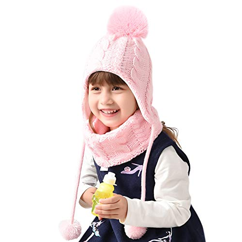 Children Winter Hat and Scarf Set for Girls Boys Kids Knitted Beanie Hat Fox Pom Pom Ears Hats Baby Hat