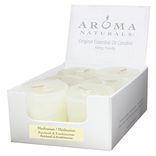 (Aroma Naturals Votive Candles with White, Patchouli and Frankincense, Meditation, 6)