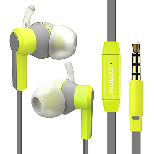 Wired In-Ear Sport Dual Earbuds Noise Isolating Sweatproof Wired 3.5mm Headphones Stereo Earphone Microphone Stereo Headset (Green)
