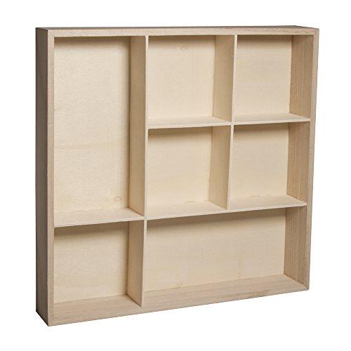 RAYHER 62612000 Holz-Setzkasten, FSC Mix Credit, 26 x 26 x 4 cm, 7 Abteilungen