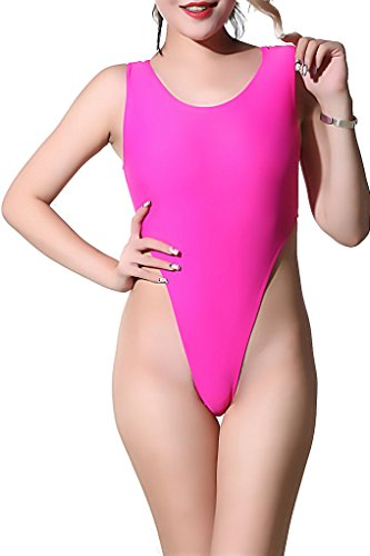 7aabfa4cf3 Amazon.com  LinvMe Women s Sexy High Cut One Piece Bodysuit Backless U Neck  Swimsuit  Clothing