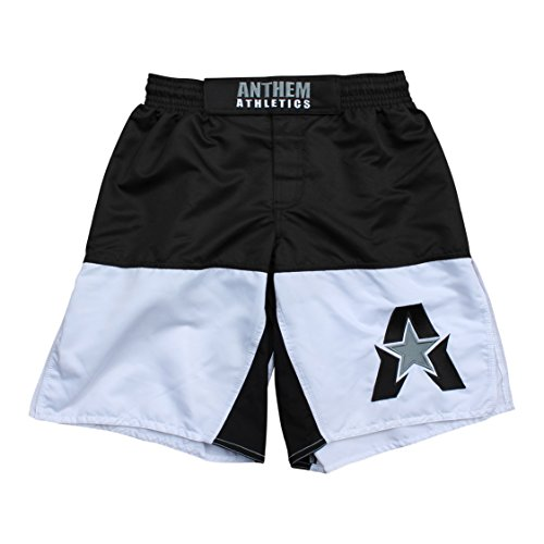 Anthem Athletics 50/50 MMA Fight Shorts - BJJ, Muay Thai, WOD, Cross-Training, OCR - Black & White - - White Shorts Mma Fight