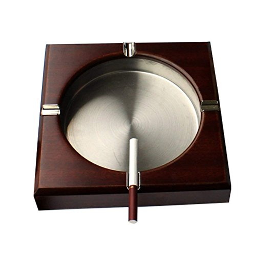 HLL Creative Ashtray,Cigarette Ashtrays Can Portable Windproof Ash Tray Cigar Ash Holder Cup/Case of with Wood for Indoor Outdoor Pub Living Room Smoking and Ash Trays for Home Office Desktop/Ta