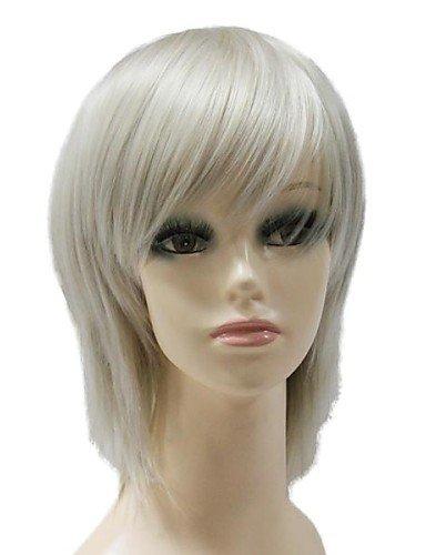 Grado superior tapa corta sintética gris oscuro recto peluca sintética completa