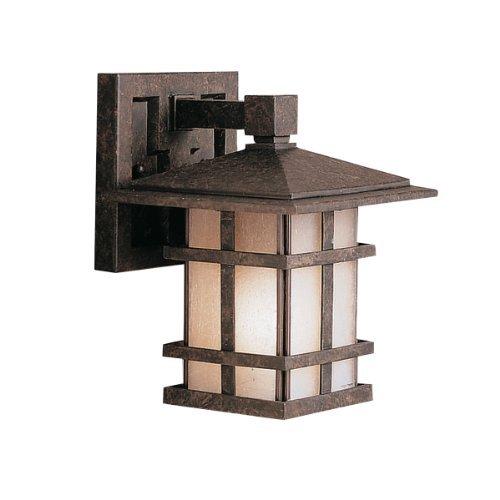 Kichler Lighting 9128AGZ Cross Creek 1-Light Outdoor Wall Lantern, Aged Bronze with Textured Linen Seedy Glass by Kichler