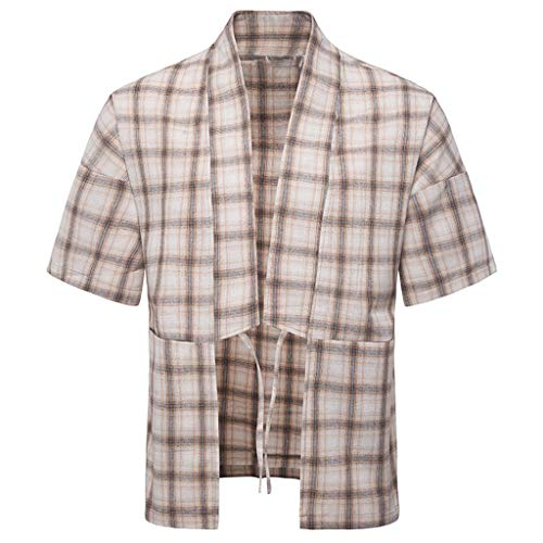 Mens Cardigan New Summer Check Short Sleeve Shirt Fashion Loose Casual Beige