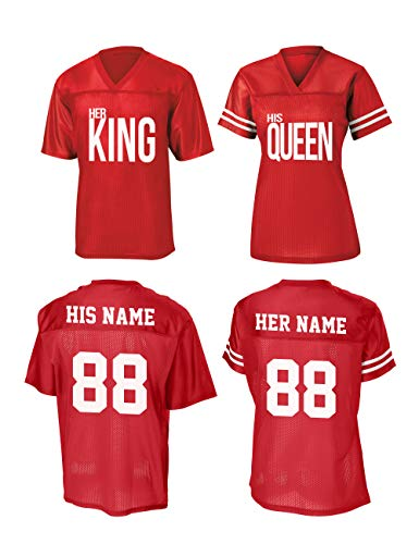 Queen & King Custom Jerseys for Couples - His and Her Matching Couple Shirts