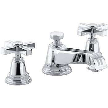 KOHLER K-13132-4B-CP Pinstripe Widespread Lavatory Faucet, Polished ...