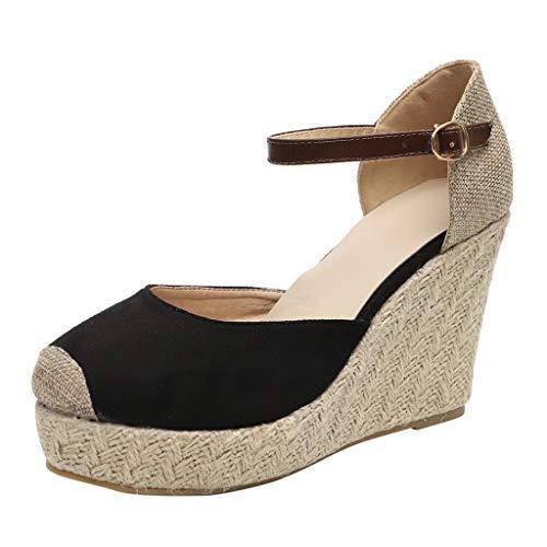 Platform Wedge Sandals for Women,Casual Espadrille Point Toe Ankle Strap Buckle Up Roman Shoes (US:6.5, Black) ()