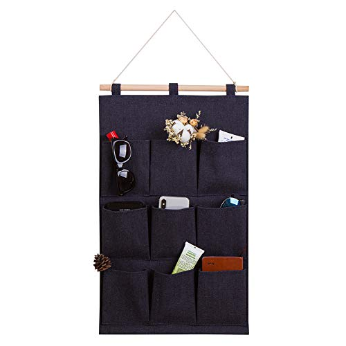 Every Deco Wall Door Hanging Mounted Storage Organization Compartment Pocket Fabric Wood Rope Room Bathroom Toiletry Newspaper Magazines - 9-Pocket - Denim