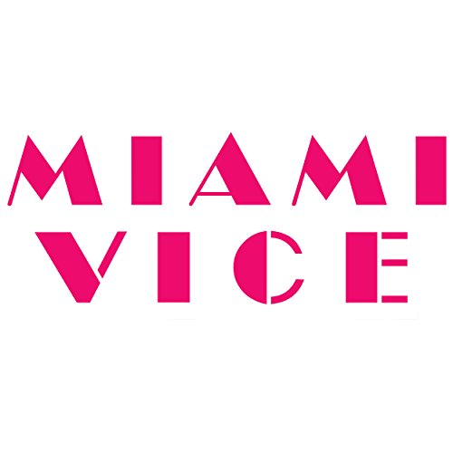 Miami Vice logo PINK (set of 2) silhouette stencil artwork by ANGDEST - Waterproof Vinyl Decal Stickers for Laptop Phone Helmet Car Window Bumper Mug Tuber Cup Door Wall - Miami Ironman