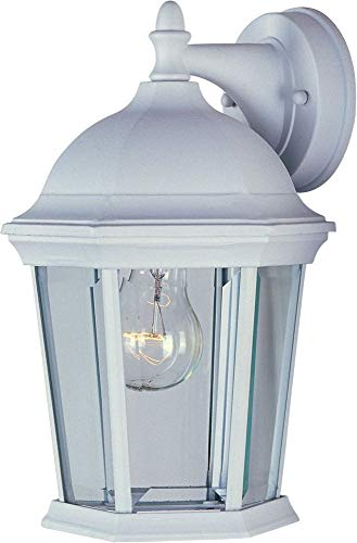 (Maxim 1024WT Builder Cast 1-Light Outdoor Wall Lantern, White Finish, Clear Glass, MB Incandescent Incandescent Bulb , 100W Max., Wet Safety Rating, Standard Dimmable, Glass Shade Material, Rated Lumens)