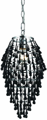AF Lighting 8123-1H Crystal Teardrop Chandelier- Black - Candice Chrome Chandelier