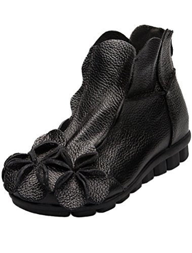 with Unique Women's Shoes Round 2 Topline Flower Black Leather Handmade Mordenmiss pxO7SwUw