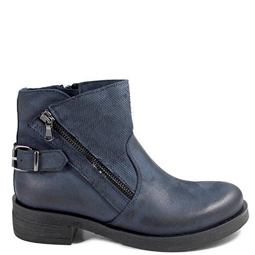 Donna Bassi Pelle Italy Stivali 0319 Vera Stivaletti Shoepper Boots Bikers In Nabuk Blu Made Personal f4CZYqw