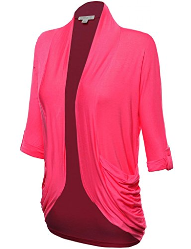 FPT Womens 3/4 Roll-Up Sleeve Open Rayon Cardigan S.MAGENTA 2X-LARGE