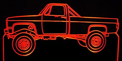 1984 Chevy Pickup Truck Acrylic Lighted Edge Lit LED Sign / Light Up Plaque 84 VVD1 Full Size USA Original