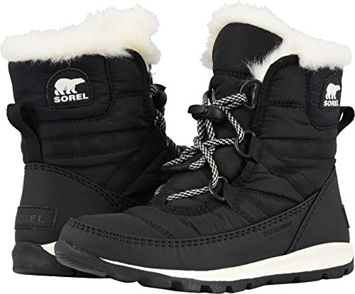 SOREL Girls' Youth Whitney Short Lace Snow Boot, Black, sea Salt, 6 M US Big Kid