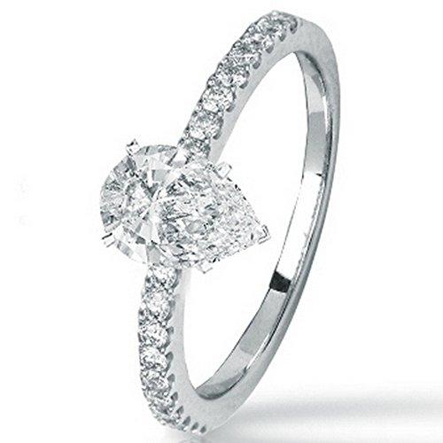 0.48 Cttw Platinum Pear Cut Classic Side Stone Prong Set Diamond Engagement Ring with a 0.25 Carat H-I Color SI2-I1 Clarity Center