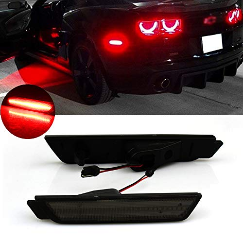 Smoked Lens Red LED Rear Side Marker Lights For 2010 2011 2012 2013 2014 2015 Chevy Camaro Side markers Powered by 27 Red SMD LED Lights 12V ()
