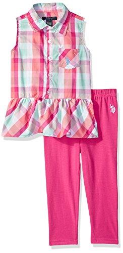 (U.S. Polo Assn. Girls' Little Fashion Top Set, Peplum Plaid Tank Knit Capri Legging Fuchsia, 4)