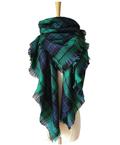 MOLERANI Women's Fashion Tassels Soft Plaid & Tartan Scarf Winter Warm Large Blanket Wrap Shawl (One Size, 14-Navy Green)