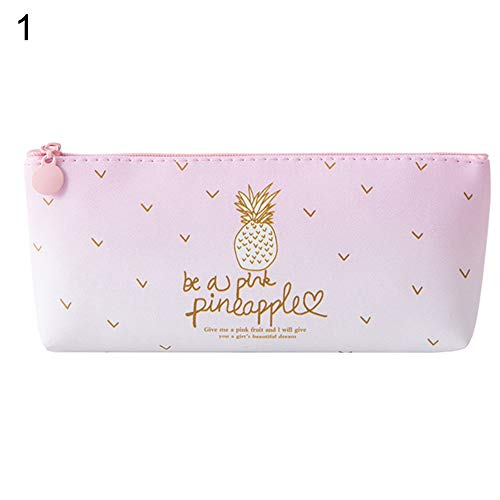 (Pencil case,longdelaY6 Cute Pineapple Candy Color Girls School Bag Box Kawaii Stationery Pencil Case - 1#)