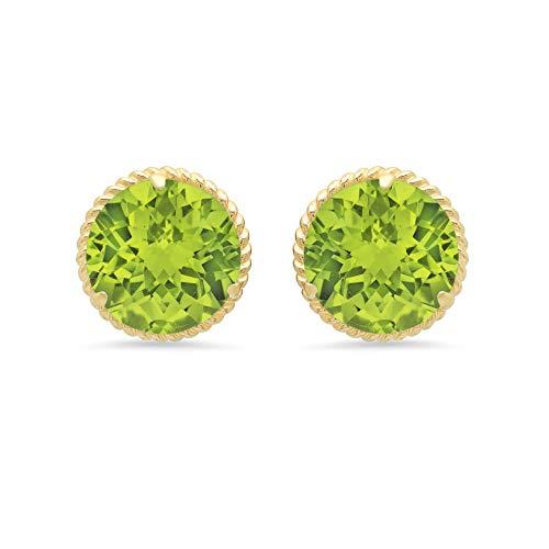 Certified 14k Yellow Gold Roped Halo Round-Cut Peridot Stud Earrings (8mm)
