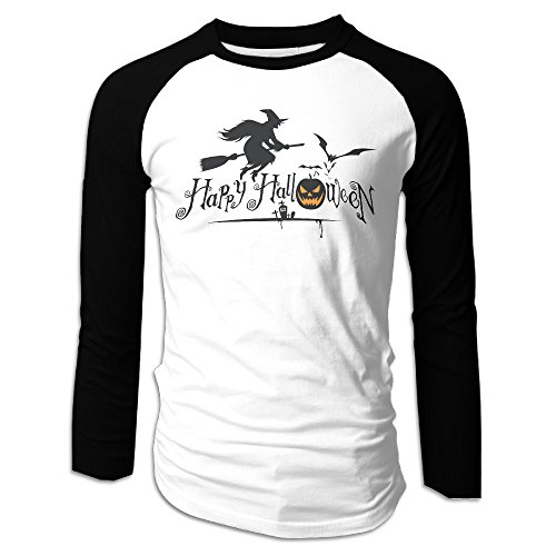 Creamfly Mens Happy Halloween Event Long Sleeve Raglan Baseball Tshirt XXL ()