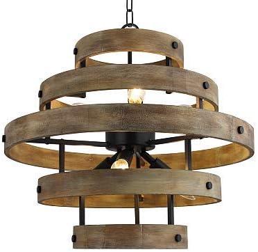 6 Light x 22″ Wide Metal Circular Wood Vertigo Geometric Chandelier Industrial Farmhouse Lantern Hanging Foyer Pendant Lamp Retro Edison Bulb Open Frame Wood Shade