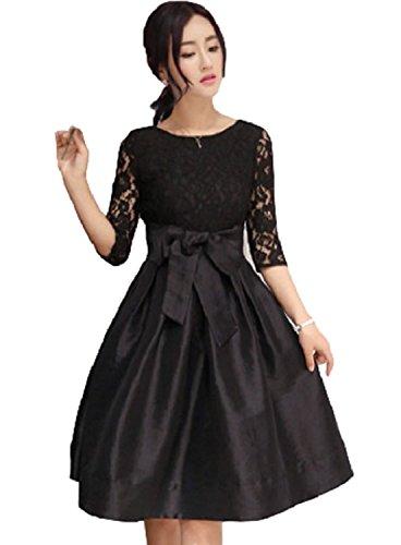[エムズ ミミ] パーティ ドレス レース リボン Aライン スカート フレア ワンピース ブラック レッド S~3XL