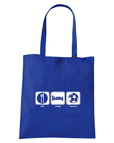 T-Shirtshock - Bolsa para la compra OLDENG00800 eat sleep soccer Azul Real