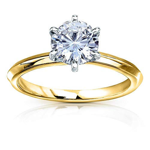 (Classic Solitaire Round Brilliant Moissanite Engagement Ring 1 Carat 14k Yellow Gold (DEF, VS), 6)