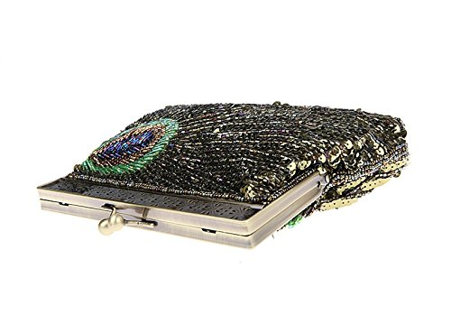 Antique Sequin Sunburst Eye Gold Catching Beaded Purse Handbag Vintage Peacock Unusual Clutch Teal Evening Ywx1WIUTAq