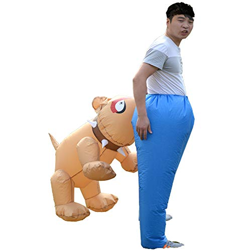 HHARTS Adult Dog Bites Men Inflatable Costume Funny Animal Blow up Costume for Halloween Cosplay Party Christmas -