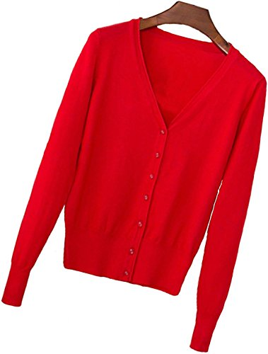 (S.S Womens V-Neck Button Down Long Sleeve Crew Neck Soft Classic Basic Knit Cardigan Sweater (S-3X) (Medium, Red))