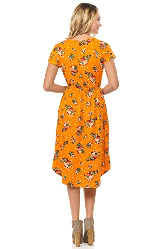 in in and Polka Made Pockets Floral USA iconic Mustard Solid Floral Sleeve luxe Flare Midi Short Dress with Women's RqBwRxz6