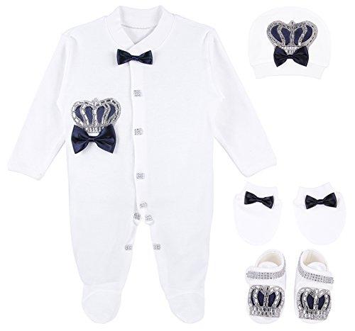 Lilax Baby Boy Jewels Crown Layette 4 Piece Gift Set 0-3 Months Dark Navy