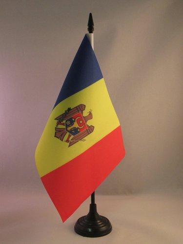 BANDIERA DA TAVOLO MOLDAVIA 21x14cm - PICCOLA BANDIERINA MOLDAVA 14 x 21 cm - AZ FLAG