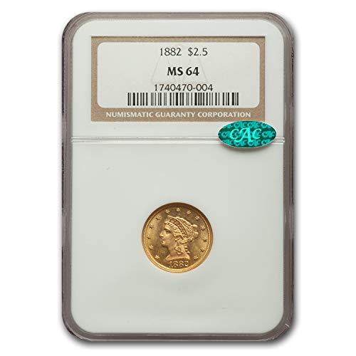 1882 $2.50 Liberty Gold Quarter Eagle MS-64 NGC CAC $3 MS-64 NGC