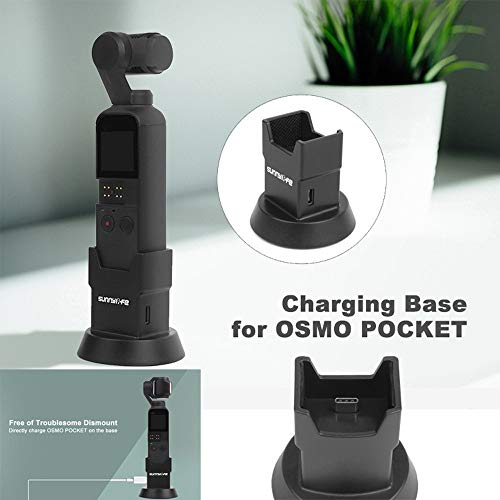 Sodoop Charging Dock Mount Base Holder with Charge Port Type-C for DJI Osmo Pocket Camera,Vertical Gimbal Accessories with 1/4 Screws