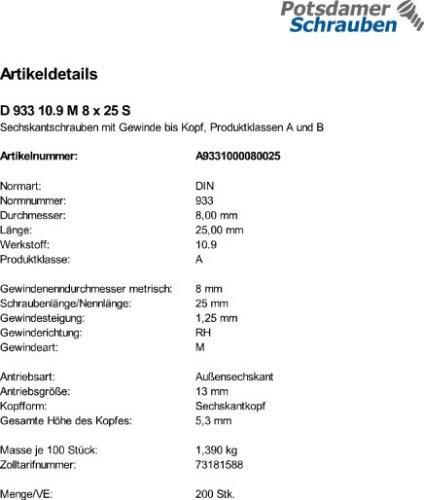 200 Sechskantschrauben DIN 933 8.8 schwarz M8x28